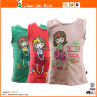 Cute litter girl printed T-shirt newest design sleeveless cartoon T-shirt for baby kids