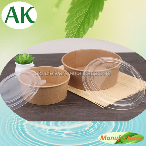 Food Grade Wholesale Take Away Fruit Salad Container/Kraft Paper Disposable Salad Bowl With Plastic Lid