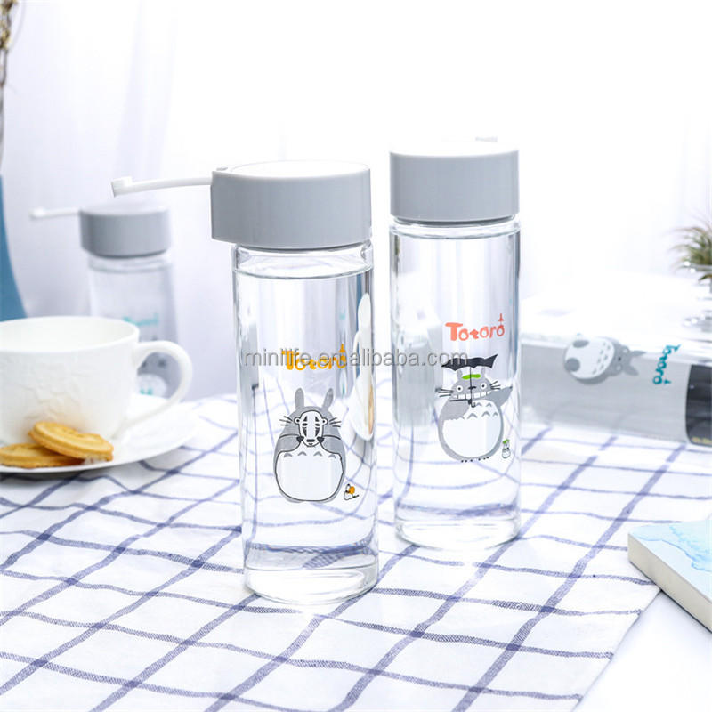 Factory Supplied Transparent Drinking Water Glass Bottle, Totoro Design Office Glass Water Bottle