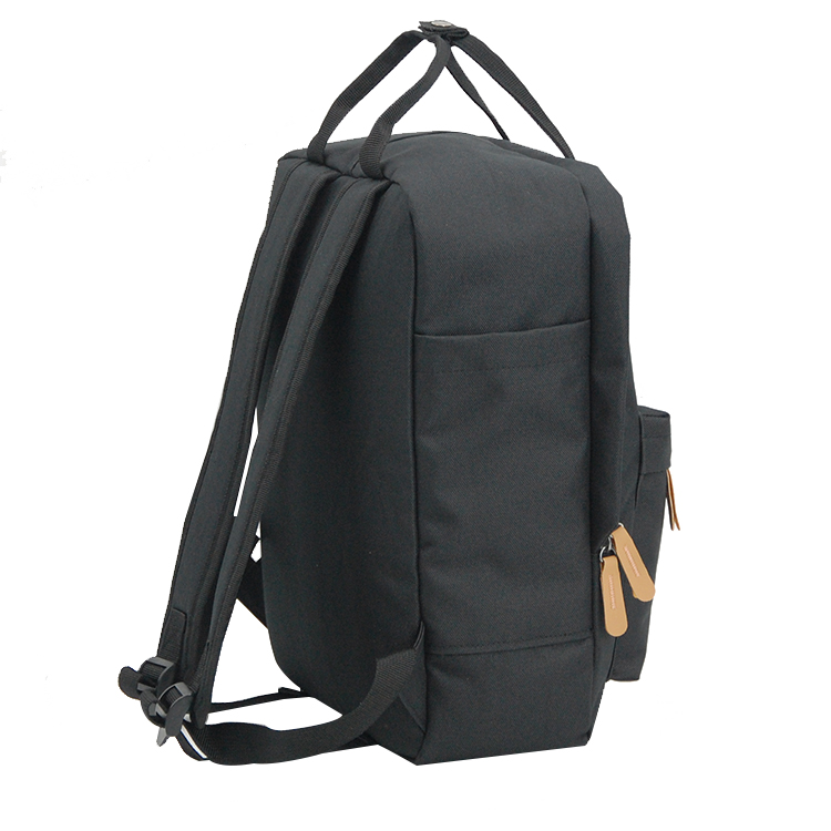 Fashionable recycled PET black shoulder school bags leisure outdoor trendy RPET backpacks