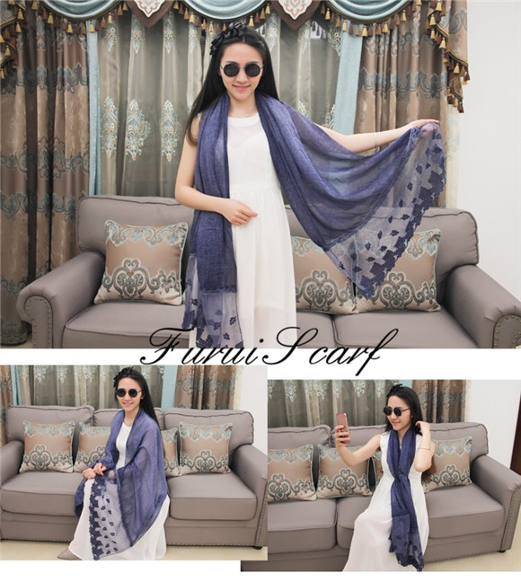 Hot Sale Rose Lace Cotton Fabric Embroidered Scarf Muslim Ladies Hijab Leaf Prints Solid Color Long Shawl Wraps