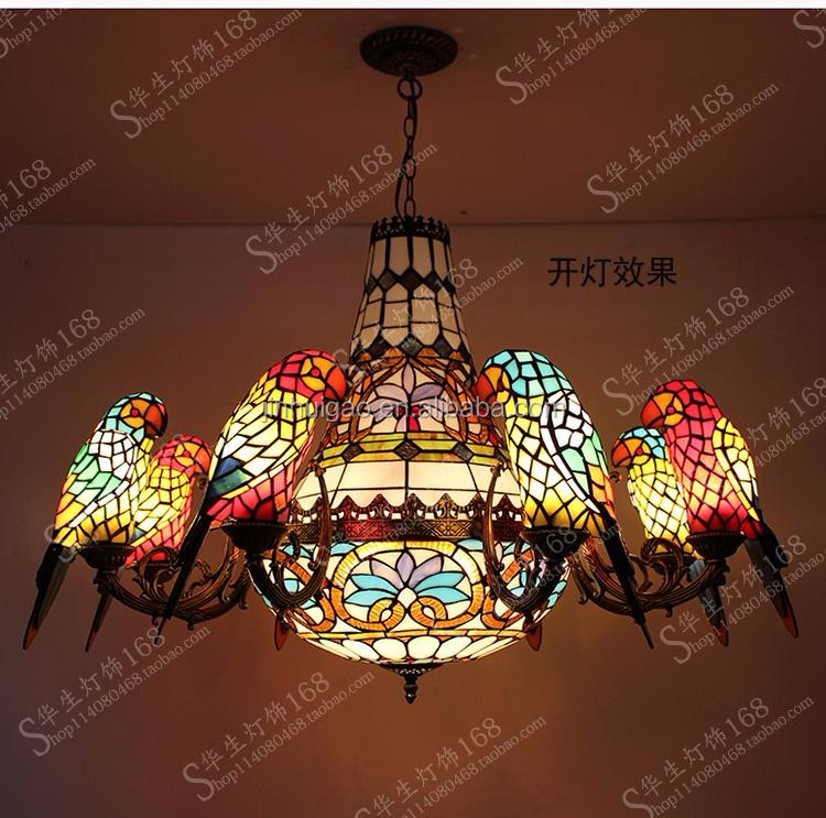 Antique Tiffany stained glass pendant lamp 8+1 Parrot lights building light decoration