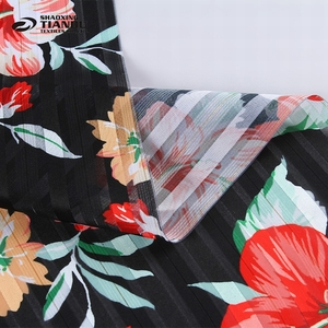 Most popular woven printed polyester thai woven black chiffon crepe fabric composition
