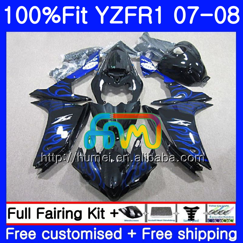 Injection Body For YAMAHA blue black YZF <strong>R1</strong> 07 08 YZF-<strong>R1</strong> 2007 <strong>2008</strong> 90HM34 YZF1000 YZFR1 YZF-1000 YZF 1000 R 1 07 08 Fairings
