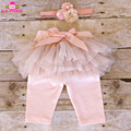 2018 Newest Design Spring Children Girls Peach Chiffon Ruffle Sparkles Glitter Tutu Skirt Leggings Pant With Matching Headband