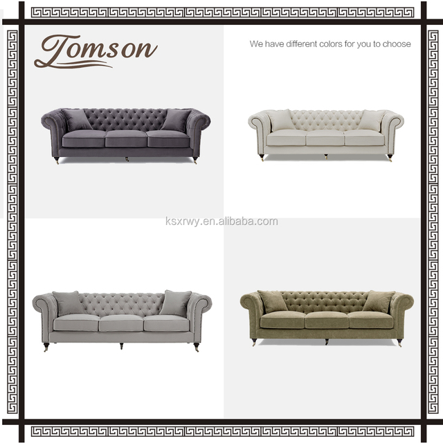 European classic luxurious living room fabric sofa / button tufted Upholstered sofa Chesterfield rolled arms Fabric lounge Sofa
