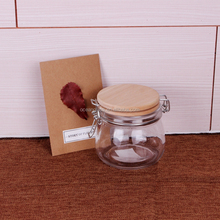 Wholesale 500ml metal clip top glass container 17oz glass storage jar with wooden glass ceramic lid