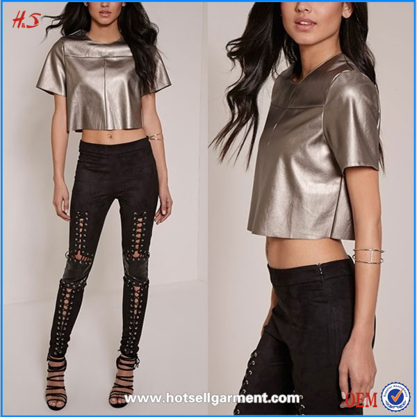 Woman Clothes Ladies Tops Images Plain Crop Top Wholesale PU Crop Top For Girls