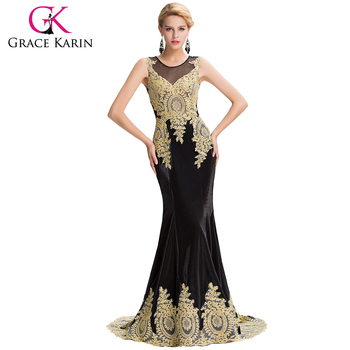 Grace Karin 2016 New Sleeveless Golden Appliques Long Black Evening Dress Latest Party Gowns Designs GK000026-1