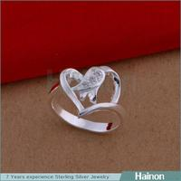 Exquisite Different Heart Styles Brass Birthday Gifts Silver Coated Brazil Ring for women