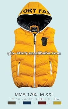 Glo-story winter mens padded quilit hoody puffer vest