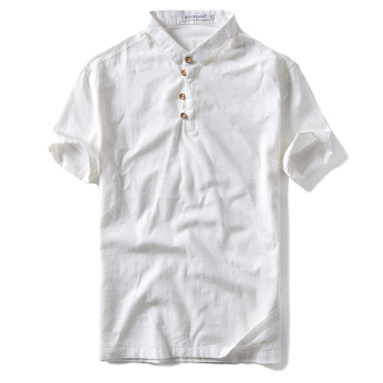 Men's Fashionable cotton linen short sleeve Breathable polo t-shirt