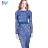 Yihao 2016 New Spring Summer Women Celebrity Elegant Crochet Lace Work Bodycon Sheath Pencil Dress