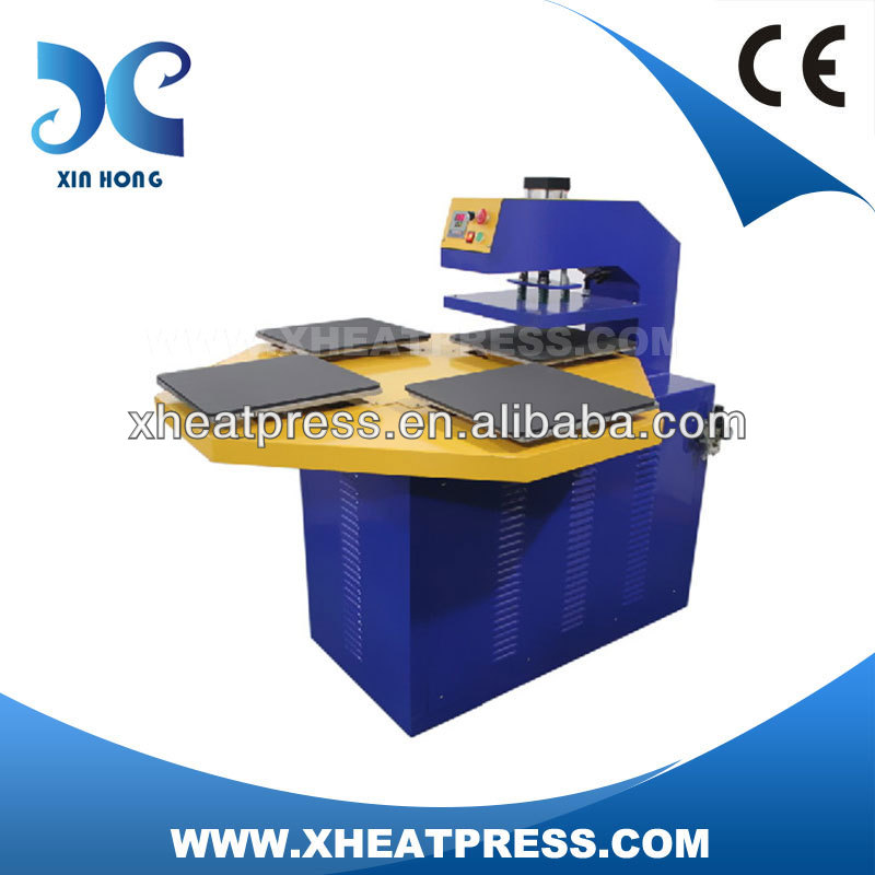 Factory Direct Automatic Four Stations PneumaticMix Heat Press Tshirt Maker Screen Printing Machine