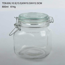 round /square shape glass airtight canister/storage jar with clip with glass/ceramic lid with decal printing