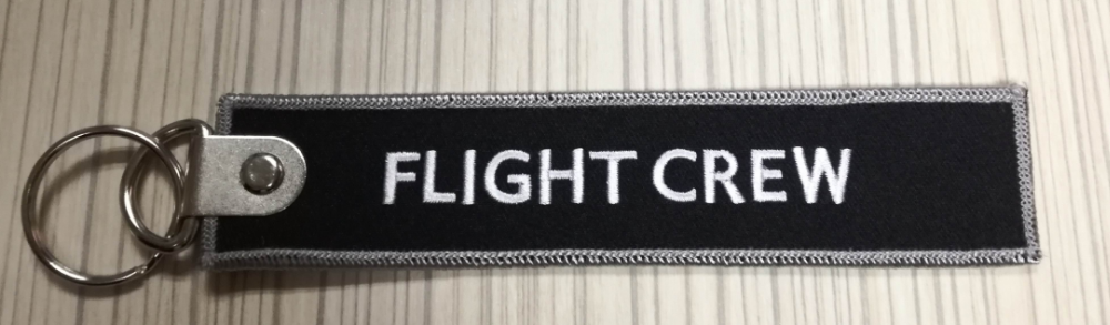 Hot sale embroidered/embroidery Pilot Flight Crew Keychain keyrings Custom embroidered airline crew luggage name tag
