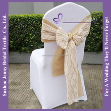 C388D wedding decoration burlap ivory lace chair covers chair sashes