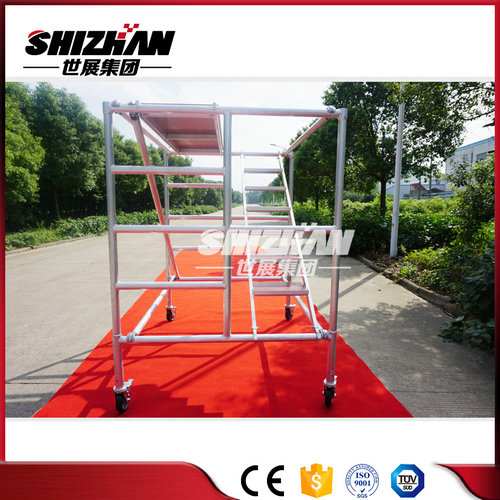 Factory supply double width folding mobile scaffold tower/heavy duty scaffolding