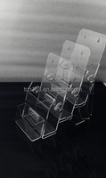 Clear Acrylic 3 Compartment Wall Mounted Document File Organizer Rack / Magazine Rack