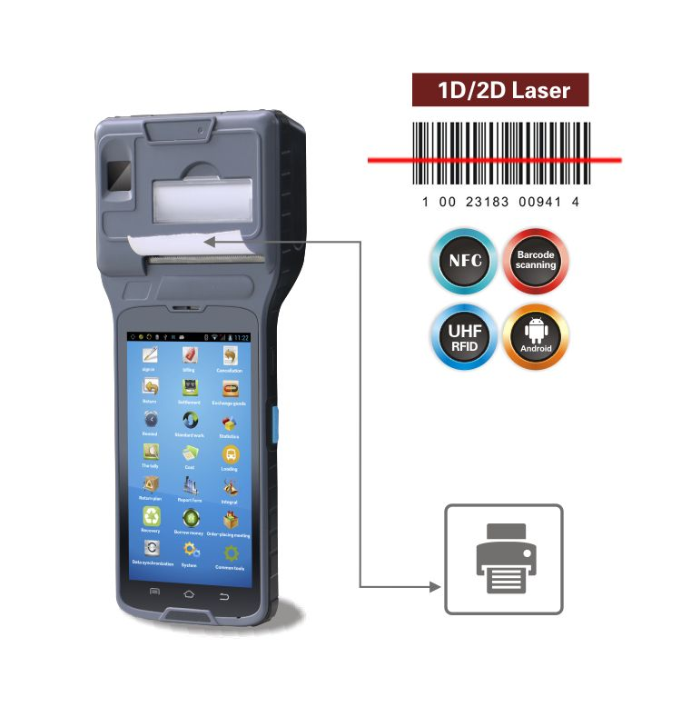 rugged pda android pos terminal handheld barcode scanner printer with biometric reader support 4G LTE barcode scanner handheld