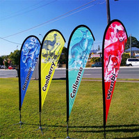 Outdoor Advertising Promotion Custom Logo Flying Beach Feather Flag With Aluminium Pole