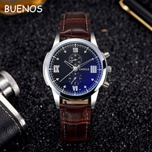 2017 Luxury Elegant PU Leather Strap Leisure Men Quartz Watches High-end Gift
