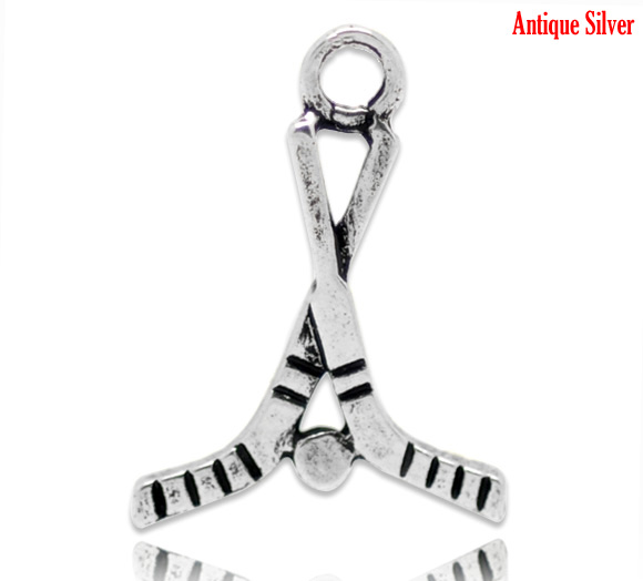 Custom Wholesale Antique Silver Hockey Stick Charms Pendants