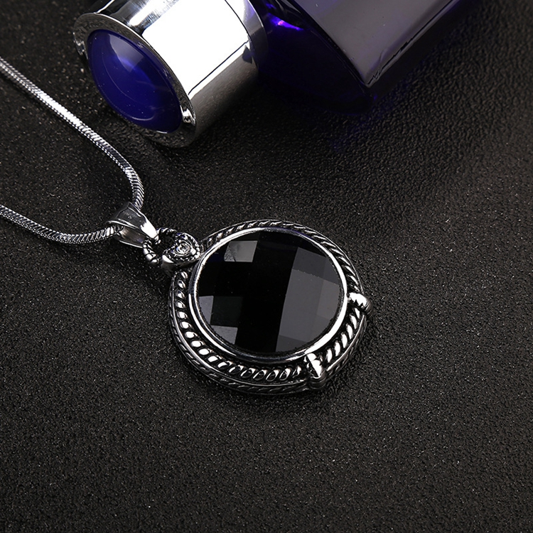 Vintage Unisex Stainless Steel Customized Micro Round Agate Necklace