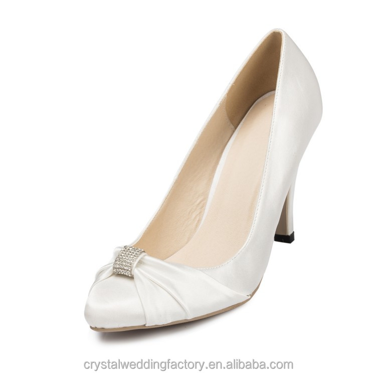Alibaba hotsale 9 cm heel bridal wedding shoes Pure silkworm silk satin LS04