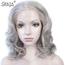 Synthetic silk top lace wig,partial lace front wig