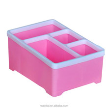 Plastic Cosmetic Organizer Pink Display Case Box Office Desk Dividers Storage Box