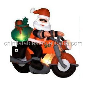 Inflatable Cool Santa Motorcycle/replica Christmas decorationm/inflatable replica for promotion
