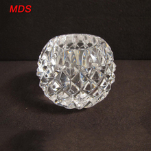 Glass tea light knitted rotary crystal ball candle holder