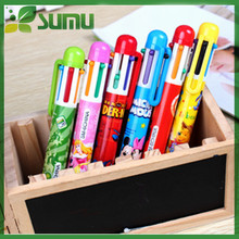 cartoon shape 6 color ball pen