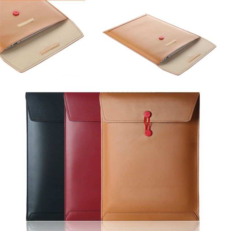 Leather Envelope - High Quality Synthetic Leather Carrying Sleeve, Unique Envelope Pouch / Bag Design for notebook 12''-15.5''