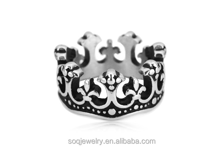 STR171 New Design European High Quality Titanium Steel Charm Crown Rings Jewelry for Men & Women