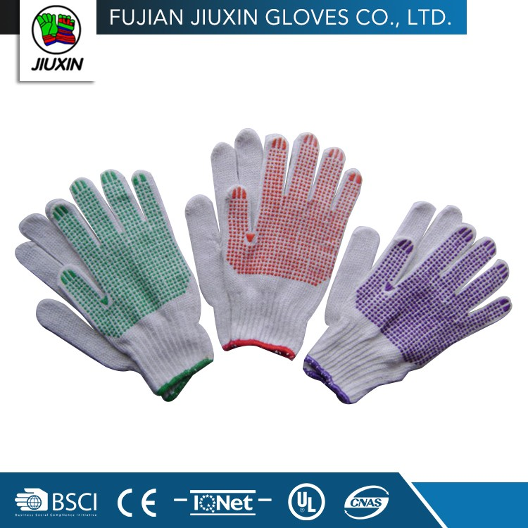 Factory Direct Provide Oem Different Colored Safety Non Slip Cotton Work Glove