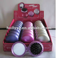 Hot sale folding hair brush with mirror for travel