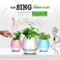 JESOY 2017 Hot Selling Creative Plastic Smart NIght Lamp Bluetooth Music Plant Flower Pots