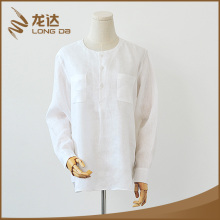 Longda New design 100%linen long sleeve breathable fashion white shirt women