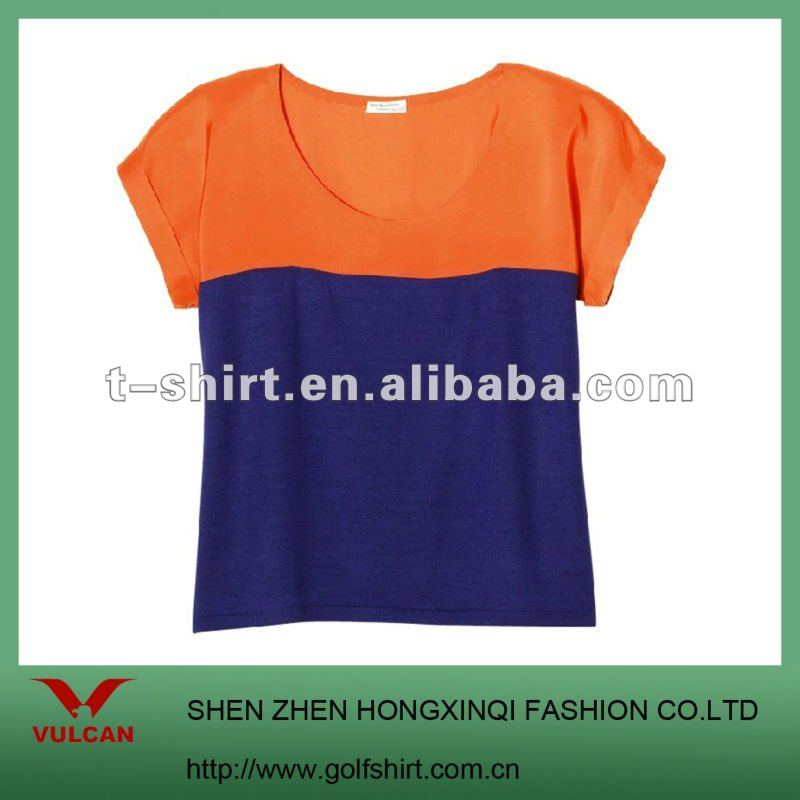 Fashion Trends color combination short sleeve Ladies T shirts