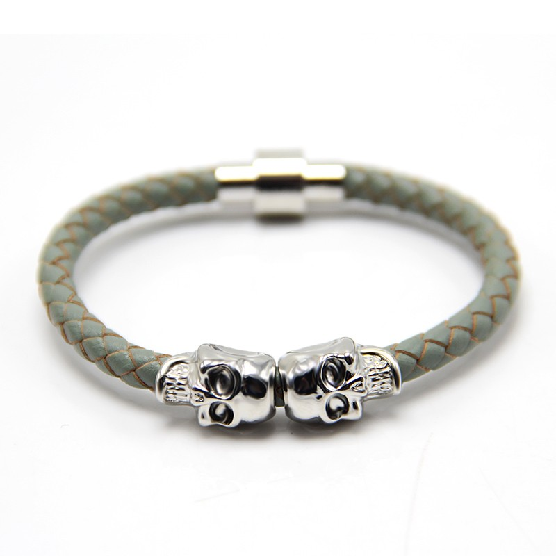 Newest Mens Leather Bracelet Skull Bracelet Magnetic Genuine Leather Bracelet