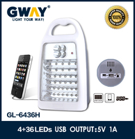 4+36 LED portable usb 5V1A output battery operated emergency light