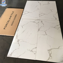 wholesale Italian price White marble Carrara look 24x48 floor and wall polished rectified porcelain floor and wall tiles