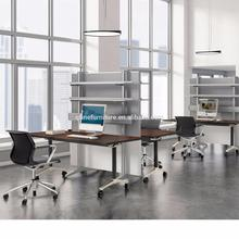 high-quality office desk Aluminum Electroplate foot Conference table and folding table with wheel