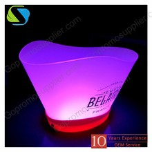 2016 factory top quality custom logo full printed rechargeable led plastic promotional ice bucket cube low price moq