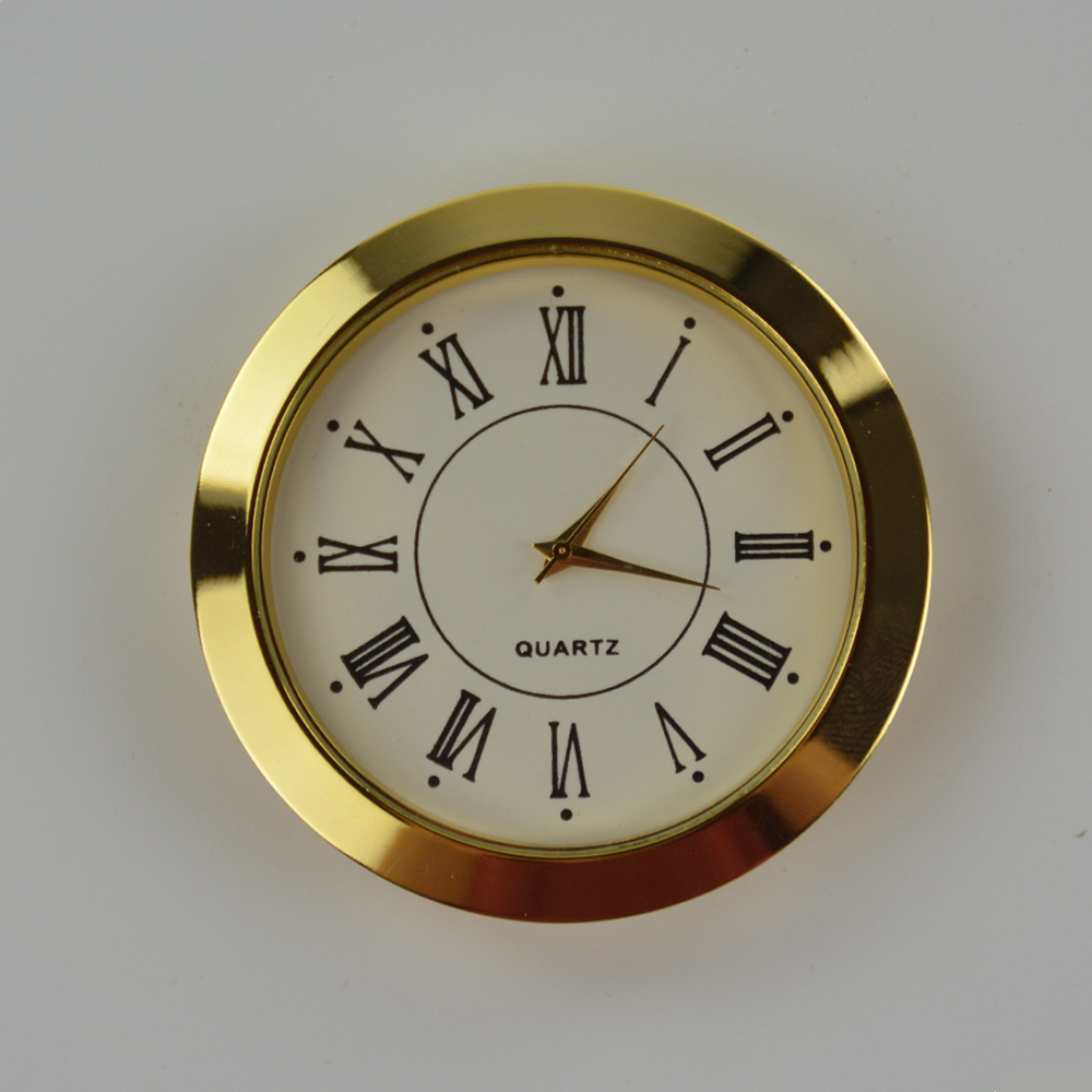 Many size 55mm cheap price gloden metal insert clock