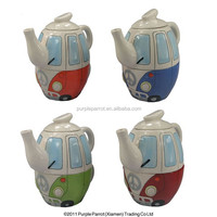 Ceramic Camper Van with Surfboard Teapot and Cup Set