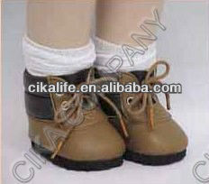 "brown Patent Leather Hi Tops boots for 18"" doll"