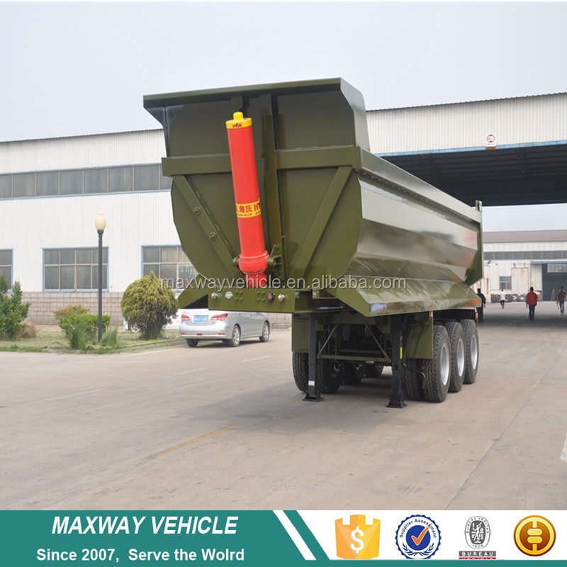3 Axle Heavy Duty U Shape Rear 40 cubic meter tipper dump truck semi trailer